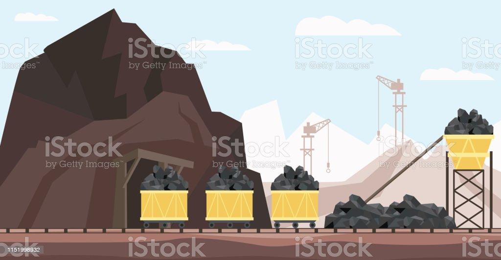 Kol gruvan industrin och transport vektor illustration med högar av svart mineral till gång i minekärror. - Royaltyfri Antracit vektorgrafik