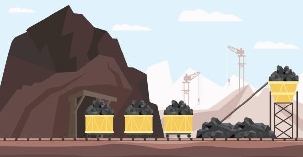 bildbanksillustrationer, clip art samt tecknat material och ikoner med kol gruvan industrin och transport vektor illustration med högar av svart mineral till gång i minekärror. - mining