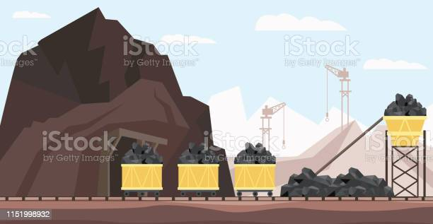 Kol Gruvan Industrin Och Transport Vektor Illustration Med Högar Av Svart Mineral Till Gång I Minekärror-vektorgrafik och fler bilder på Antracit