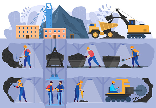 Coal mine industry, people working in underground caverns, vector illustration