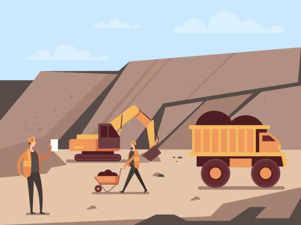bildbanksillustrationer, clip art samt tecknat material och ikoner med kolgruva produktionskoncept. vektor platt tecknad grafisk design illustration - mining