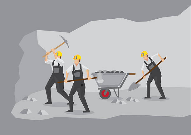 bildbanksillustrationer, clip art samt tecknat material och ikoner med coal miners working in underground mine vector illustration - miner