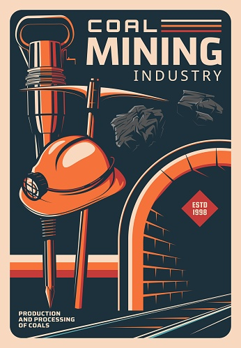 Coal mining and miner tools, vintage retro poster