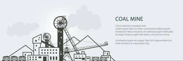 bildbanksillustrationer, clip art samt tecknat material och ikoner med kolgruvor banner - mining