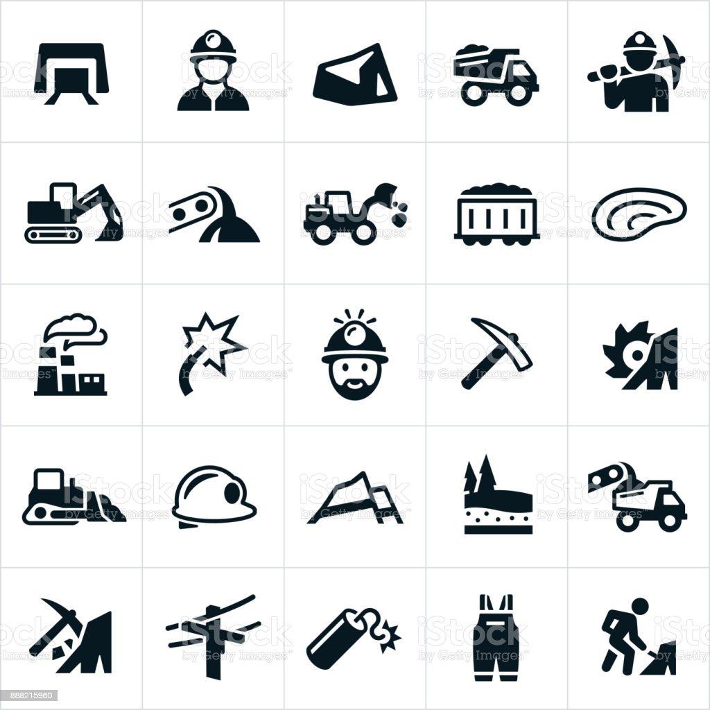 Kohlebergbausymbole Stock Vektor Art und mehr Bilder von Arbeit mit ...