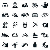 A set of coal mining icons. The icons include coal miners, coal mine, coal, heavy equipment, excavator, train, mine pit, coal plant, electricity, pick, bulldozer, hard hat, strip mining, natural resource, energy and mining equipment to name a few.