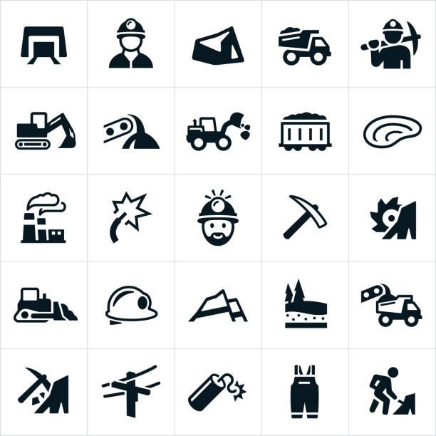 bildbanksillustrationer, clip art samt tecknat material och ikoner med kolgruvor ikoner - mining