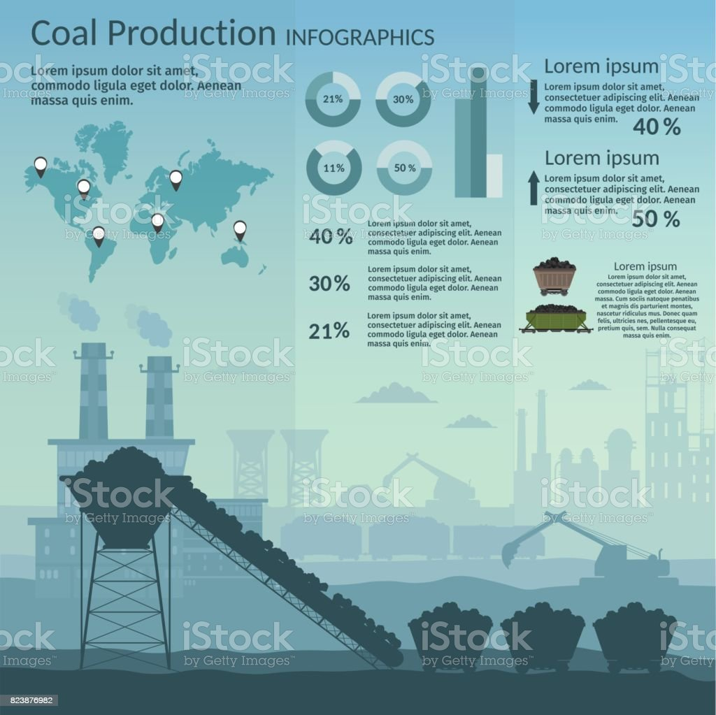 Coal mining industry and transportation set infographics elements isolated vector technics building vector art illustration