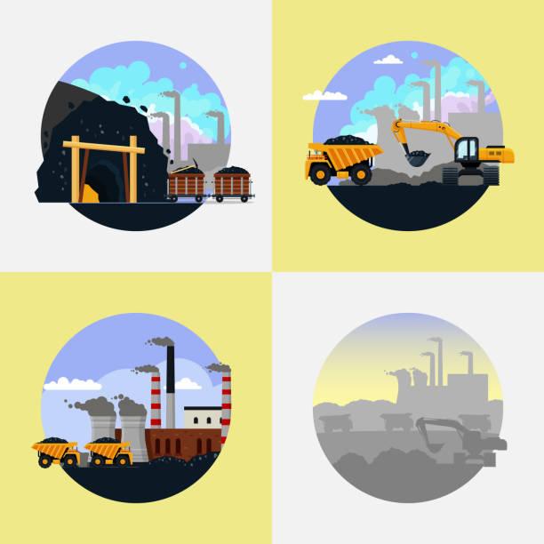 bildbanksillustrationer, clip art samt tecknat material och ikoner med kolgruvor industri set platta vektorillustration - mining