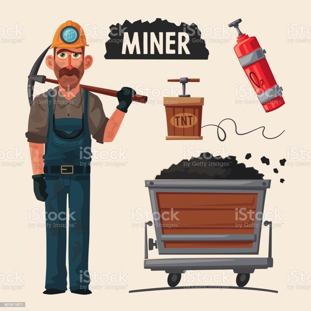 Coal mining. Miner character and tools. Cartoon vector illustration vector art illustration