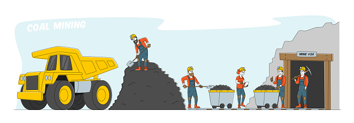 Coal Mining. Miner Characters Working on Quarry with Tools, Transport and Technique. Extraction Industry Technics, Work Equipment and Transportation for Quarry. Linear People Vector Illustration