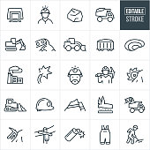 A set of coal mining icons that include editable strokes or outlines using the EPS vector file. The icons include a mine shaft, coal miner, coal, coal truck, dump truck, excavator, conveyor belt dropping rock, earth mover, coal train cart, pit coal mine, power plant, electricity, coal miners helmet, coal-miner, coalminers, holding pick axe, coal extraction, bulldozer, strip coal mine, power line, dynamite, work cloths and other related icons.