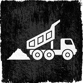 Coal Mining Truck on Black Grunge Background