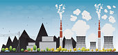 Coal power plant or factory pipes with smoke. Vector Illustration with yellow tree and blue sky