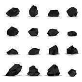 Coal, graphite, charcoal vector icons set.