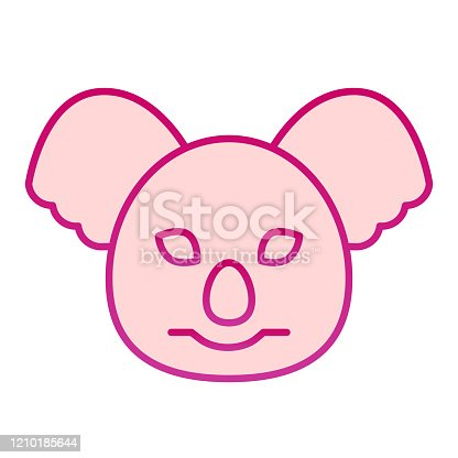 istock Coala head flat icon. Cute australian animal face simple silhouette. Animals vector design concept, gradient style pictogram on white background, graphic for web or app. 1210185644