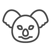 Coala head line icon. Cute australian animal face simple silhouette. Animals vector design concept, outline style pictogram on white background, use for web and app. Eps 10