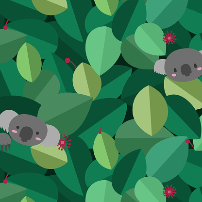 Coala in the Forest on Leaves Background Pattern Vector, Illustration