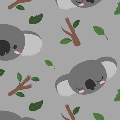 Coala in the Wild Pattern,vector,Illustration