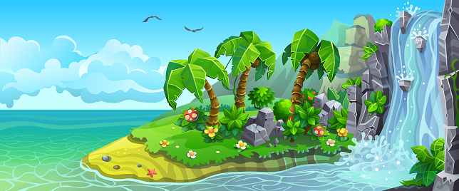 Coast of tropical island with waterfall and palm trees.