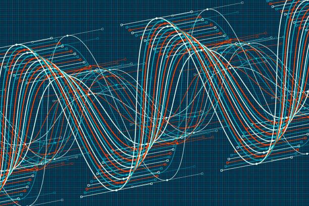 Coast Vector Sine Wave Graph Pattern Horizontal vector art illustration