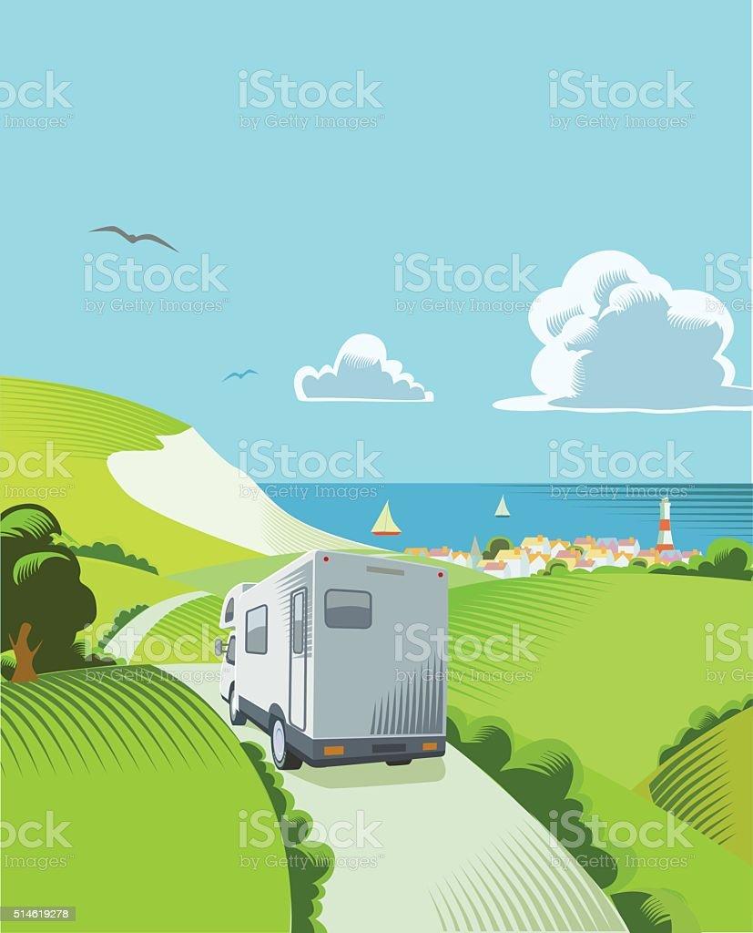 Coastal Countryside scene vector art illustration