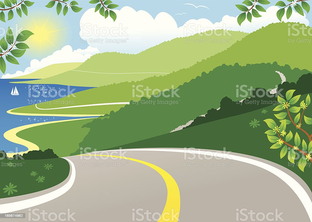 Coastal highway view vector art illustration