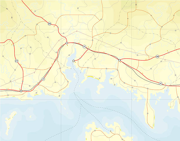 Coastal map Generic editable vector map of a coastline with no names. Hi-res jpeg included. coastal feature stock illustrations