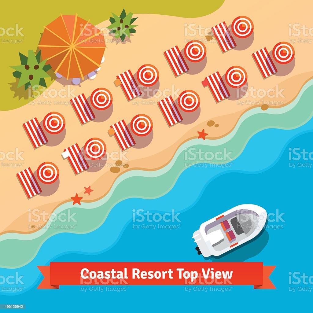 Coastal resort beach, sea and boat, top view vector art illustration