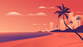 Coastal resort city at vivid sunset on the ocean beach. Vector illustration.