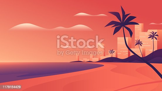 Coastal resort city at vivid sunset on the ocean beach. Vector illustration.