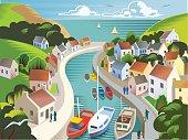 Coastal Landscape with village in retro crosshatch style. EPS 10 file, CS5 version in zip.