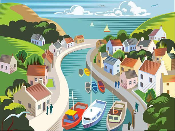 ilustraciones, imágenes clip art, dibujos animados e iconos de stock de la costa de la ciudad o el pueblo - viaje a reino unido