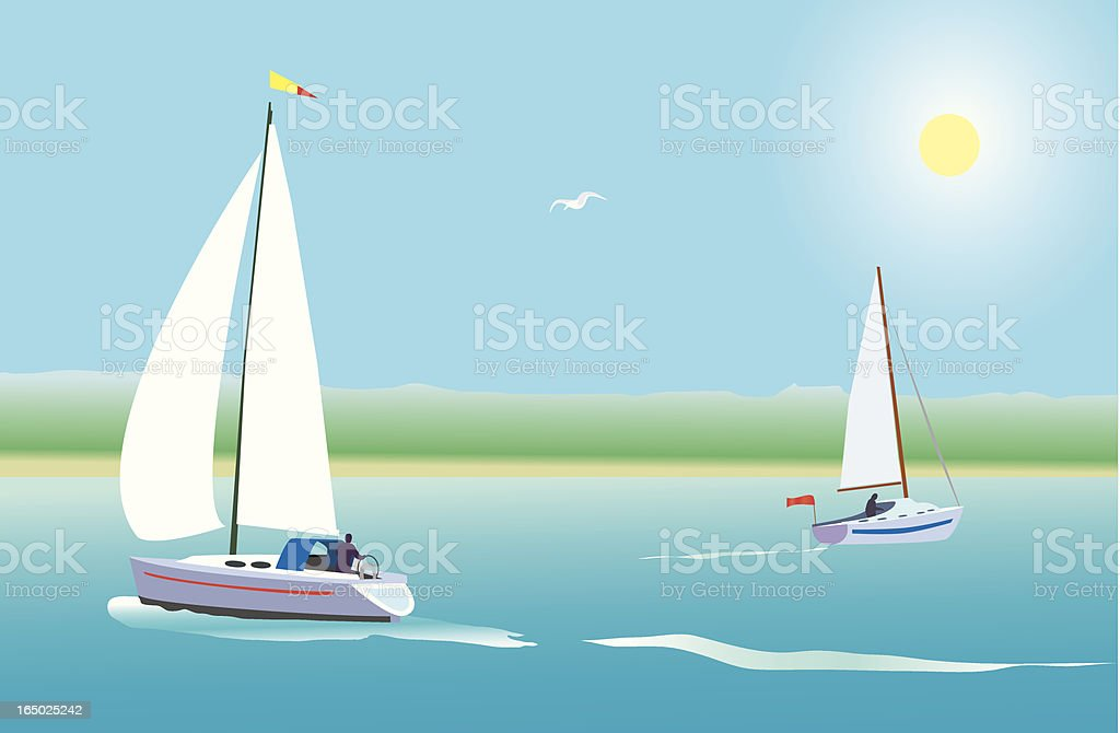 coastal yachts royalty-free stock vector art