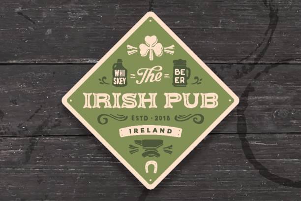 bildbanksillustrationer, clip art samt tecknat material och ikoner med underlägg för irish pub. vintage ritning för bar, pub - pub