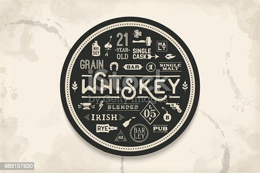 Coaster for whiskey and alcoholic beverages. Vintage drawing for bar, pub and whiskey themes. Black and white circle for placing whiskey glass over it with lettering, drawings. Vector Illustration