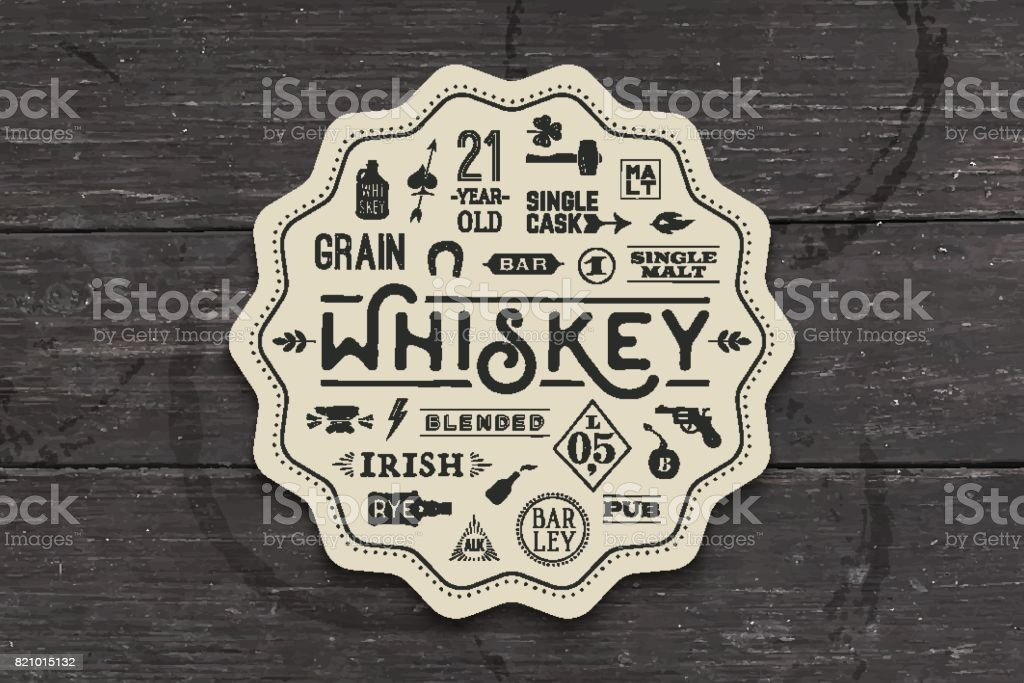 Coaster for whiskey and alcohol beverage vector art illustration