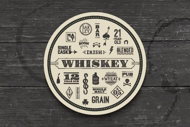 untersetzer für whisky und spirituosen - pfand stock-grafiken, -clipart, -cartoons und -symbole