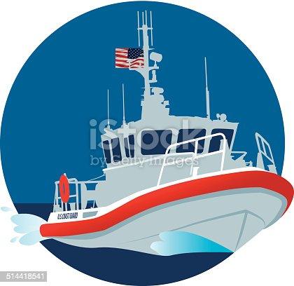 A color vector image of a USA coast guard boat.