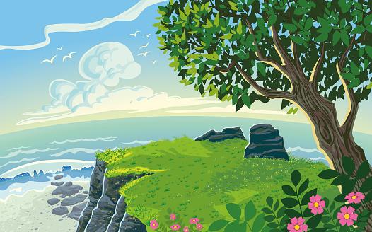 Coastline Landscape Scenery Paysage Cartoon Style