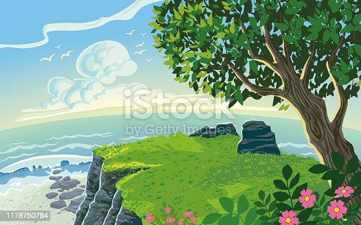 istock Coastline Landscape Scenery Paysage Cartoon Style 1178750784
