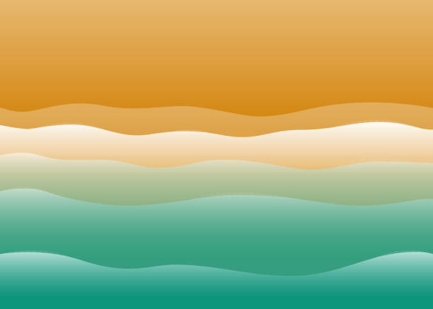 küstenlandschaft. küste, meereslandschaft, meer und sand. vektor-illustration - aerial overview soil stock-grafiken, -clipart, -cartoons und -symbole