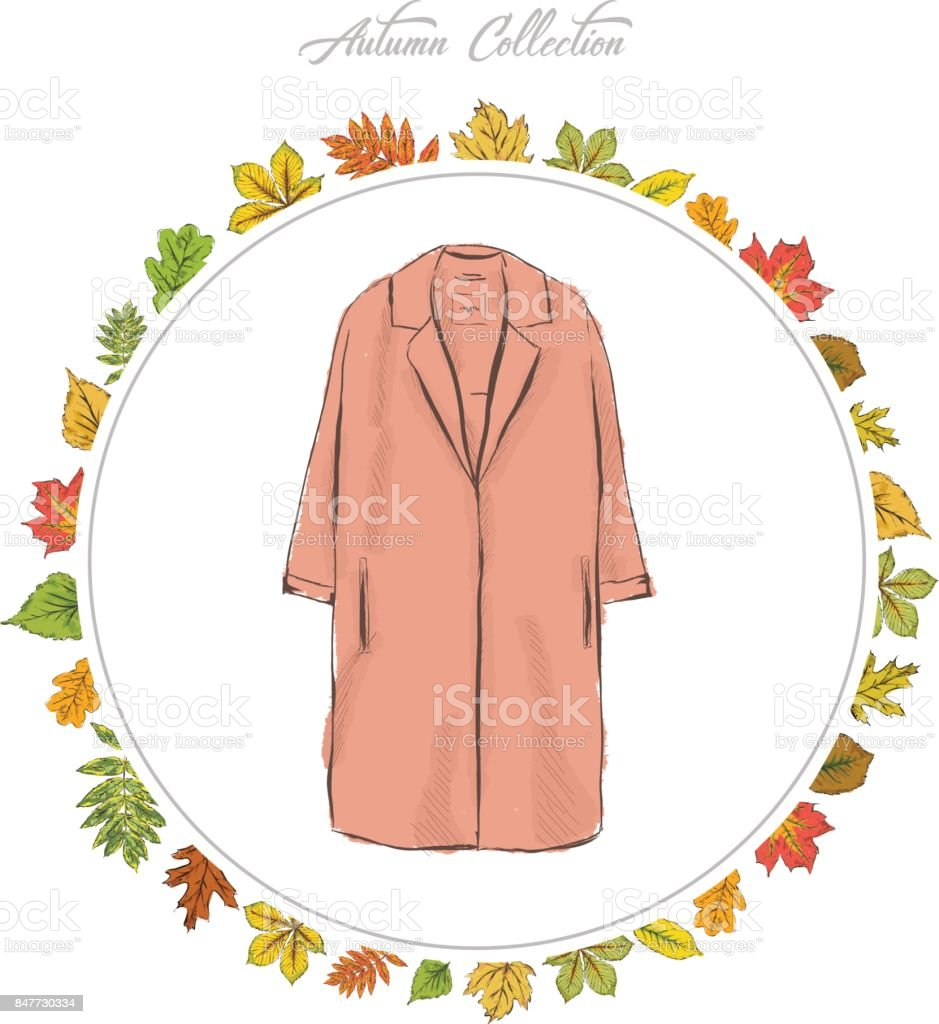 Coat, Hand draw clothes. Autumn collection. Frame of autumn leaves. Vector illustration. vector art illustration