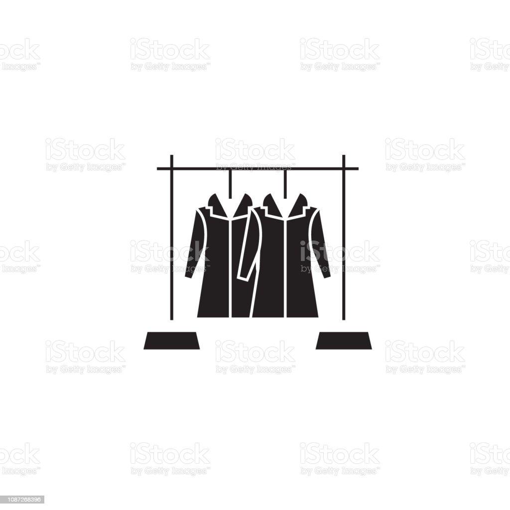 7269a704105 Coat hanger black vector concept icon. Coat hanger flat illustration, sign,  symbol royalty