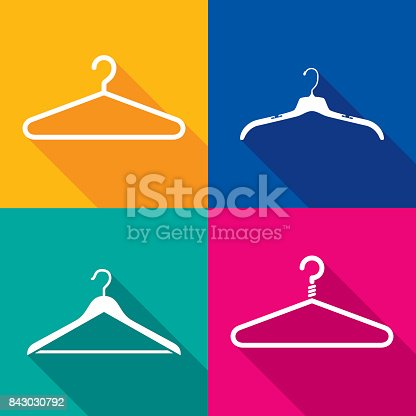 Vector illustration of a set of colorful coat hanger icons in flat style.