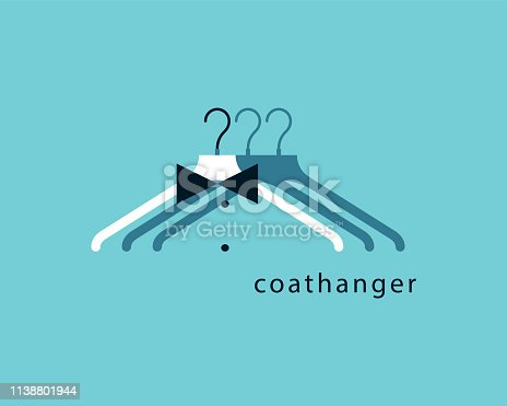 Coat Hanger.  Sign, symbol, label, icon with hanger for clothing store, fashion industry. Vector graphic print.