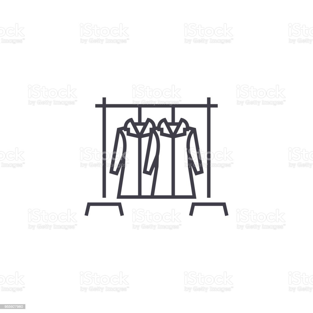 coat hanger  vector line icon, sign, illustration on background, editable strokes vector art illustration