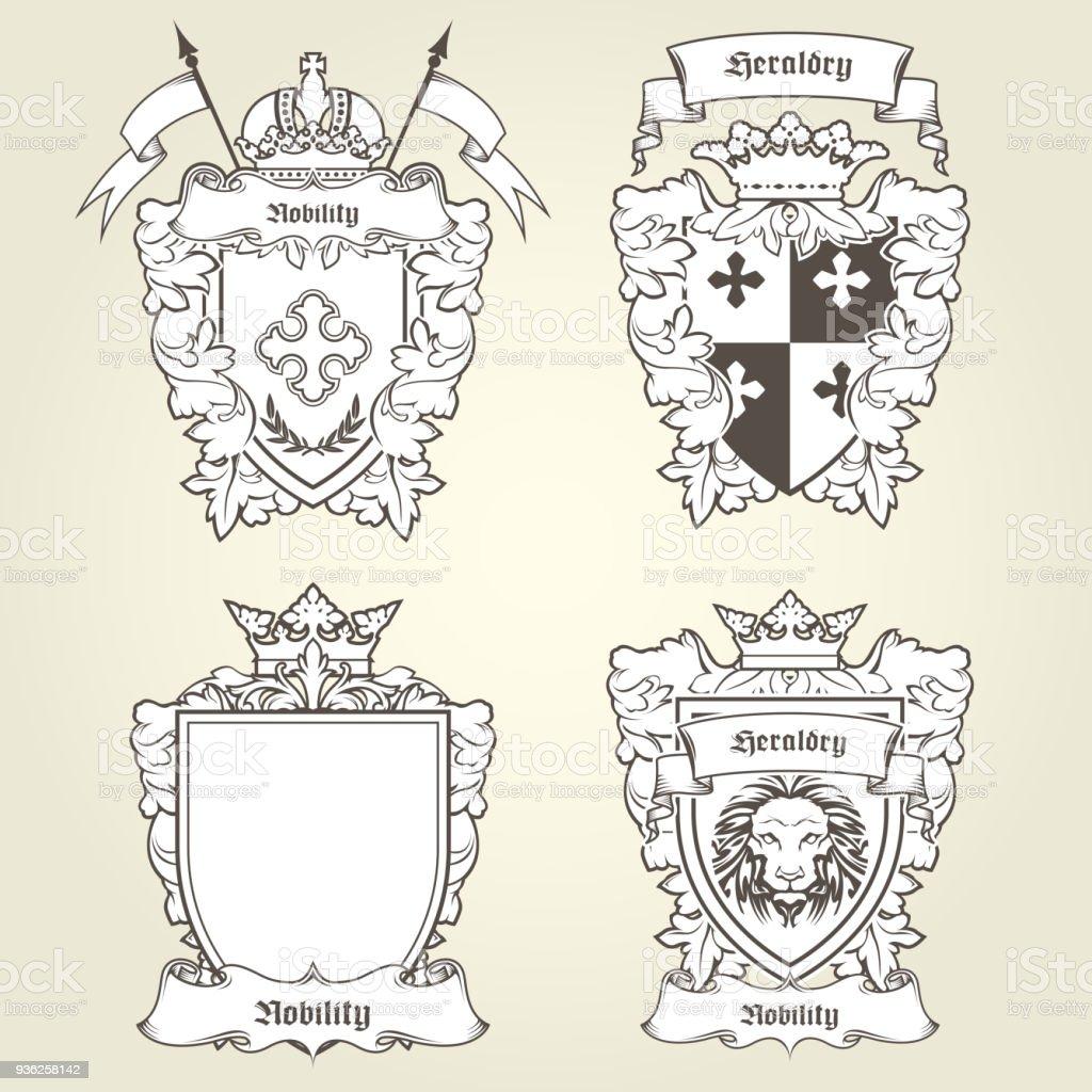Brasão de armas e brasões - escudos heráldicos e emblemas imperiais - ilustração de arte em vetor