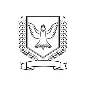 Coat of arms consisting of spike lets of wheat, birds and ribbons, a noble logo isolated on white background