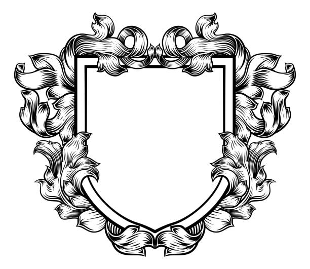 bildbanksillustrationer, clip art samt tecknat material och ikoner med vapensköld crest familj riddare heraldiska sköld - gotisk stil